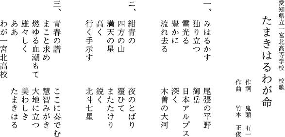 愛知県立一宮北高等学校 校歌 たまきはるわが命